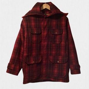 Vintage Woolrich Red & Black Plaid Wool Fleece Lined Hooded Jacket 38/M-L